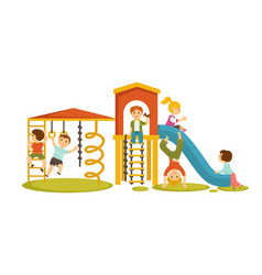 Children have fun at playground with big slide vector