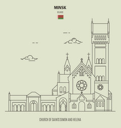 church saints simon and helena in minsk vector image