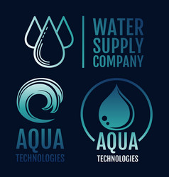 Clean water logo collection water supply and aqua vector
