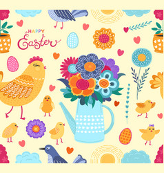 colorful easter funny seamless pattern with vector image