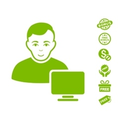 Computer Administrator Icon With Free Bonus vector