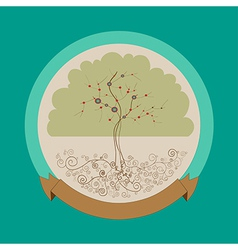 Curly bright tree label vector image