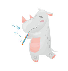Cute rhino with flute on vector