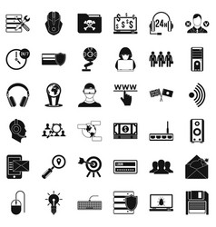 cyber security icons set simple style vector image