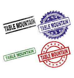 Damaged textured table mountain stamp seals vector