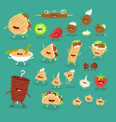 Donner pita hummus kebab fast food set vector