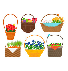 Easter baskets collection vector