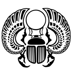 Egyptian scarab beetle black and white vector