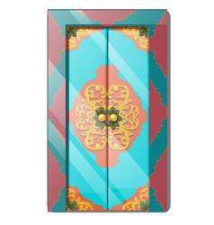 Entrance door with exquisite ornamentation vector