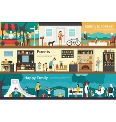 Family Is Forever Parents Happy flat interior vector image