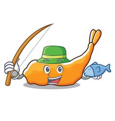 Fishing tempura mascot cartoon style vector