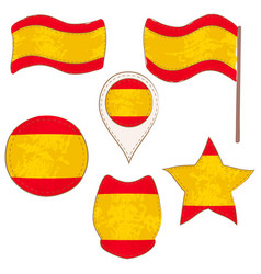 flag of the spain performed in defferent shapes vector image