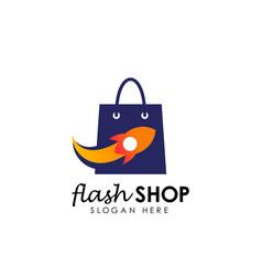 Flash shop logo design template flash sale vector
