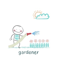 Gardener waters the flowers vector