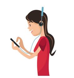 girl using smartphone headphones media vector image