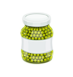 Glass jar with greeen peas vector