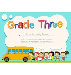 Grade four diploma with schoolbus and kids vector