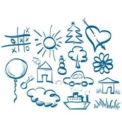 Hand drawing symbols set vector image