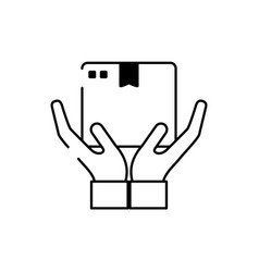 Hands with cardboard box cargo delivery line style vector
