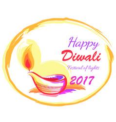 happy diwali 2017 festival lights banner vector image