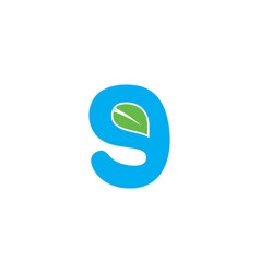 initial letter g logo with green leaf ecology vector image