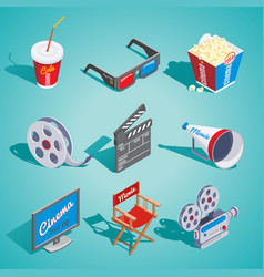 isometric cinema elements set vector image