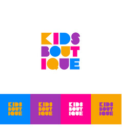 Kids boutique logo childrens clothing store vector