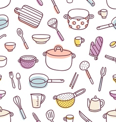 Kitchenware and cooking utensils seamless pattern vector