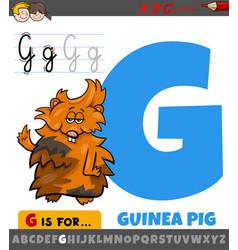Letter g worksheet with cartoon guinea pig vector