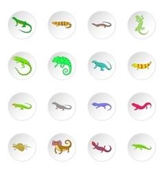 Lizard icons set vector