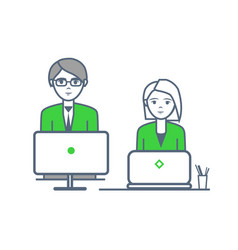 male and female people working by laptops vector image