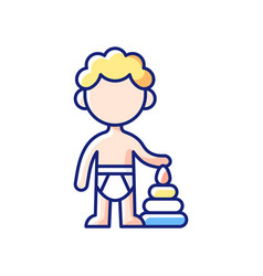 Male toddler rgb color icon vector