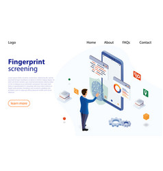man puts finger on fingerprint recognition system vector image