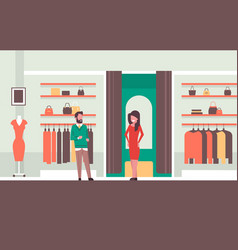 man seller consultant near woman trying on new vector image