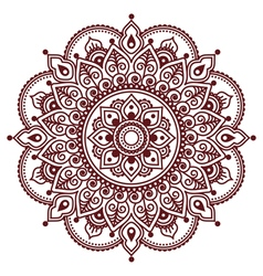 Mehndi Indian Henna brown tattoo pattern vector