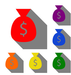 money bag sign set of red orange vector image