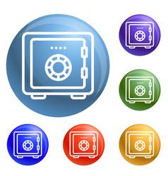 money safe icons set vector image
