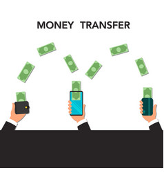 Money transfer via mobile phone vector