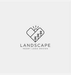 Mountain love line logo template icon element vector