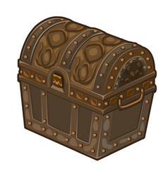 Old classic closed treasure chest isolated vector