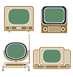 Old TV Vintage Set Retro Apparatus vector