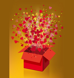 open explosion red gift box fly hearts and vector image