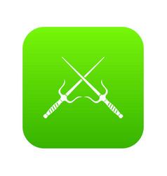Pair of sai icon digital green vector