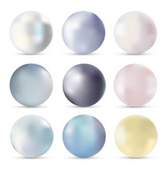 pearls realistic set isolated vector image