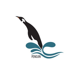 Penguin jumping out of water vector