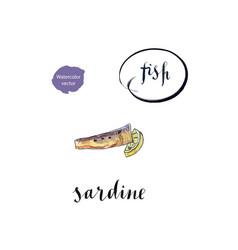 Piece of sardine and lemon vector