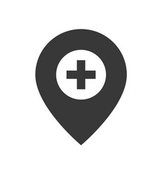 pin and cross location healthcare and medical vector image