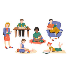 Preschool school children reading books isolated vector