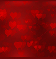 red valentines day background with in love hearts vector image