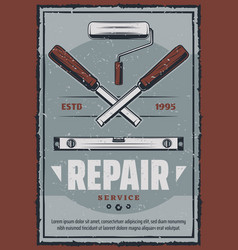 Retro poster of ruler and chisel tool vector